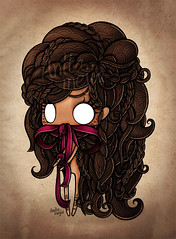 Sorrow-color (Anita Mejia) Tags: girl illustration hair eyes sad censored soul inside lonely ribbon sorrow bun censure chocolatita anitamejia