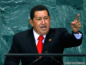 President Hugo Chavez of Venezuela speaking before the United Nations General Assembly. He appeared on the CNN television network on September 24, 2009. by Pan-African News Wire File Photos