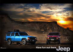 Have fun out there. Jeep (mr.alsultan) Tags: old blue sunset red orange sun hot clouds canon eos rebel 50mm desert jeep offroad mohammed cherokee kuwait xsi q8    450d alsultan   mralsultan  jalalzoor