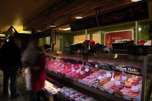 Our new Whole Foods has a nice meat counter. But my local independent butcher will still get my roast orders. I bet Drewes Market can still do a better job sourcing local specialty meat, like game.