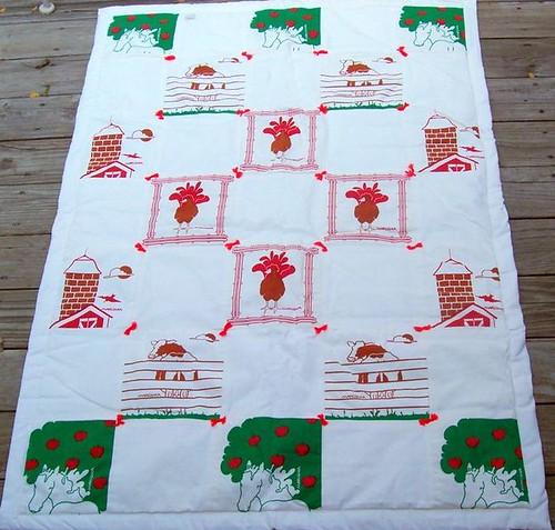 Marushka silkscreen quilt - farm theme