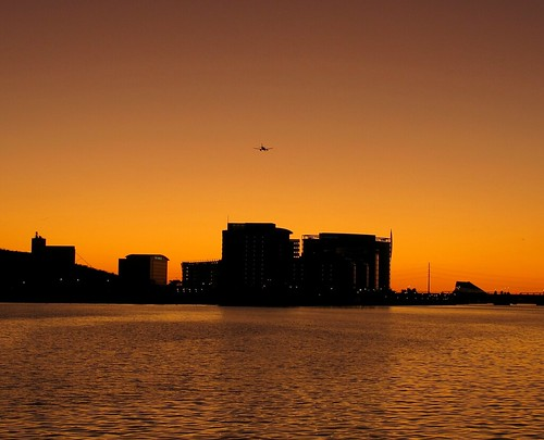 Tempe Sunset with Landing Airplane