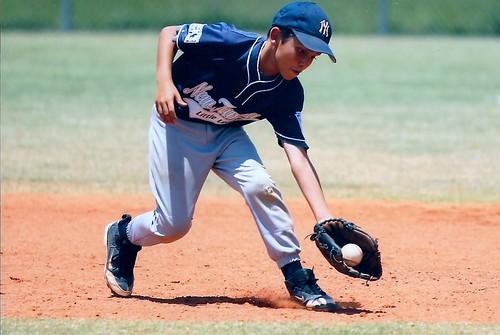 Owen fielding a grounder