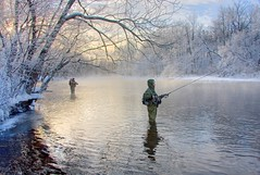 Pinners (Matt Champlin) Tags: bridge blue winter mist fish snow cold ice misty fog sunrise canon river fishing slush flyfishin