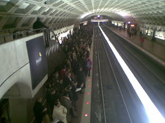 Crowded Metro Center Platform