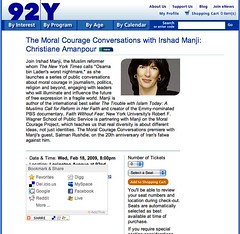 Screenshot of 92nd Street Y with AddThis