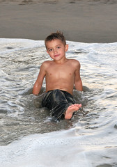 Relaxing (epoch.journey) Tags: boy shirtless beach water foot sand toes waves maryland september jeans oceancity 2008 dawson atlanticocean
