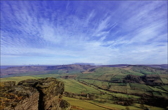 the view from cracken edge (Ron Layters) Tags: leica blue england green clouds landscape geotagged unitedkingdom derbyshire peakdistrict slide bluesky hills velvia transparency fields bigsky fujichrome pennines gritstone highpeak kinderscout mountfamine southhead greenfields leicar3 chinley ronlayters slidefilmthenscanned gritstoneedge swinesback crackenedge chinleyhead geo:lat=53359913 geo:lon=1944687