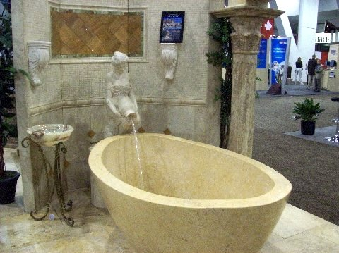 Deep Spa Tub with Fountain made from recycled concrete