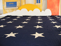 Sculptures by SHOP STUDIOS with field of stars from Giant Flag
