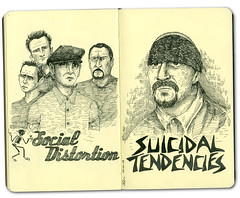 Punk Rock Bands (BRUNESKINE) Tags: music moleskine illustration banda punk sketchbook hardcore drawn ilustrao desenho socialdistortion suicidaltendencies esboo