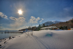 Shikotsu Ko HDR (from TIFF) (.mushi_king) Tags: winter sun lake snow beautiful japan aperture raw ko tiff photomatix shikotsu
