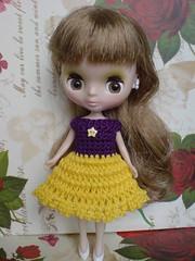 Petite Blythe Crochet Dress Crazy Colours purple/yellow (To Madrid)