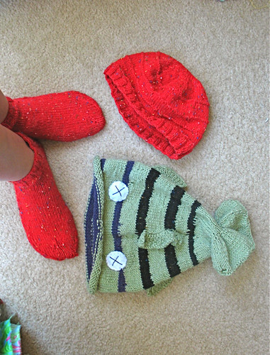 My hubby's knitting projects