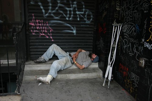 Assumably homeless in Manhattan.