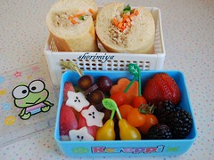 Vietnamese sandwich (Bnh m) bento (sherimiya ) Tags: school cute fruit lunch kid sweet tomatoes sandwich potato bento carrots radish nectarines keroppi sherimiya