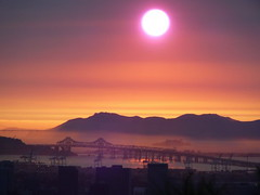 Bay Area (Elizabeth) Tags: california bridge pink light sunset colors beauty bayarea mybackyard thecoast romanticview westernextreme