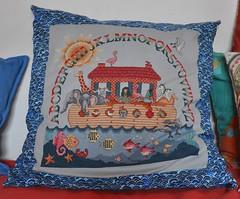 Noah's Rainbow (keroleen73) Tags: rainbow crossstitch handmade fabric abc alphabet imadethis crafty cushion regenbogen kissen 50x50 selbstgemacht noahsark stoff archenoah kreuzstich