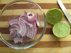 Sliced limes and onions