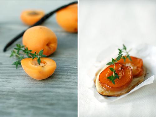 Vanilla spice poached apricot tart