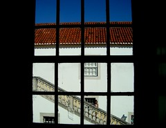 Windows (Gabrielle Z) Tags: blue roof red sky people black portugal window girl museum stairs squares almada casadacerca theturntable gabriellez
