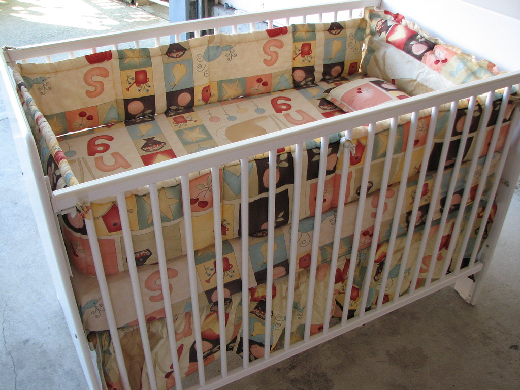 Baby bed sets including crib, mattress and 4 piece Crib sets (100% cotton) $49.OBO