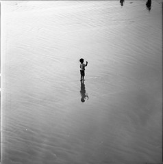(AAGCTT) Tags: california boy reflection 6x6 film beach water mediumformat losangeles sand santamonica ripples expired hasselblad501cm kodaktmax100