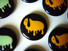 "Halloween Button Badges ""melting lop bunnny"" - orange (migi328) Tags: orange green halloween melting glow glowinthedark button badges  lop   bunnny"