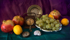 Three Lemons in Autumn (sandra.d.) Tags: autumn stilllife clock circle soldier lemon time shell pomegranate stilleven lemons grape compass montenegro mediterran naturemorte naturamorta nar budva mediteran limun sipak infinestyle sandradjurbuzovicdimitrijevic