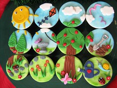 garden landscape cupcakes (cherries and chives-zaheera badat) Tags: birthday flowers party plants sun kite tree bird grass leaves cake kids clouds butterfly garden children cupcakes engagement sand designer chocolate snail insects apples rays aaliya spade fondant buttercream bird can vanker bath watering zaheera badat cherries chives