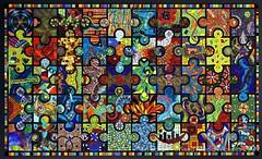 Amuzapalooza!   2009 (Lin Schorr) Tags: abstract art glass contrast mural mosaic mixedmedia mosaics stainedglass donation jigsaw collaborativeart jigsawpuzzle communityproject communityart mosaicmural novimichigan hospitalart li