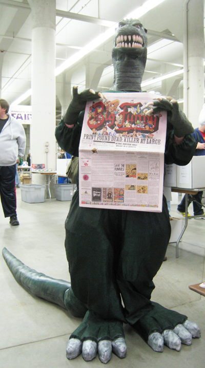 Godzilla reads Big Funny at FallCon