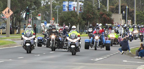 "Motorbikes ""run to the island"" through Tooradin."