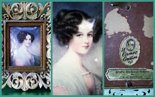 Collage of Vintage Cameo Collection Portrait in Frame