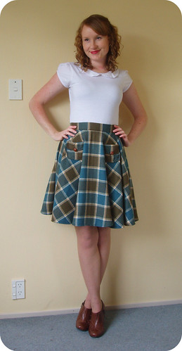 Teal Wool Circle Skirt