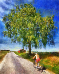 Syklist / Bicyclist (DAP ver.) (Krogen) Tags: summer june norway juni norge sommer norwegen noruega scandinavia akershus dap romerike krogen noorwegen noreg borgen ullensaker skandinavia olympuse3 dynamicautopainter