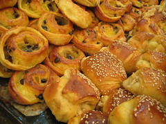 Close-up of pastries, with friend