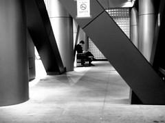 260/365: Todai (joyjwaller) Tags: shadow blackandwhite man lines japan architecture concrete tokyo suit tokyouniversity studious todai project365 walkbyshooting swallowedupinabuilding practicallythewholedamncampusisnonsmoking thisisacivillibertiesissuedesho todaimai