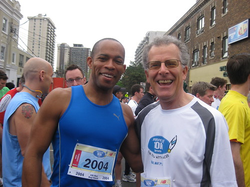 Ron Foreman with the CBC's Ron Charles at the Toronto Sporting Life 10K 2010 for Camp Oochigeas