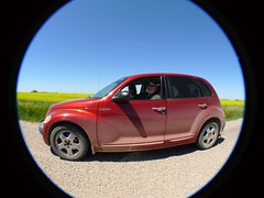 P1140268M - You know you've arrived when... (hypersapiens) Tags: road trip mike dad brother side great meeting canadian fisheye surprise sk bro saskatchewan dust pt cruiser sask 2007 hypersapienssr