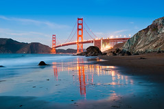 Golden Gate Bridge from Marshall Beach (canbalci) Tags: sanfrancisco california sea reflection architecture night waves dusk landmark pacificocean goldengatebridge bakerbeach
