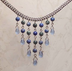 'Earthtones' chainmaille necklace (hwkwlf) Tags: blue white tree green glass agate stone persian moss big mail earth bib powder chain half denim marble tones choker chainmail lapis maille hawkwolf