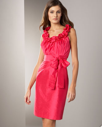 Ruffle-Neck Silk Dress -  Neiman Marcus :  pink silk ruffles ruffled