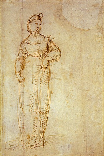1507  Raphael    Study for Saint Catherine  Pen and brown Ink  25,9x17 cm  otam