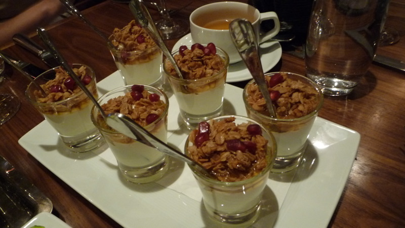 Greek yogurt with peanut butter granola, pomegranate at Dovetail