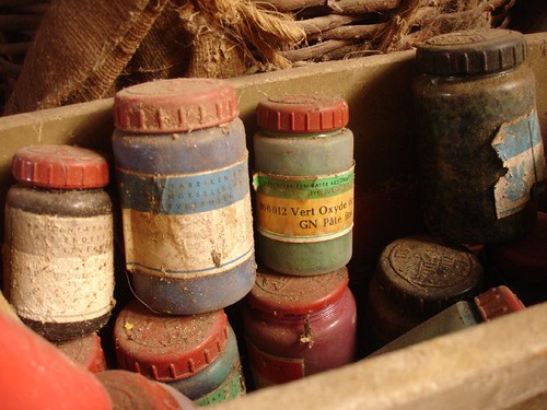 Treasure! Jars of oxide and ochres found in a neighbour's barn and given to us.