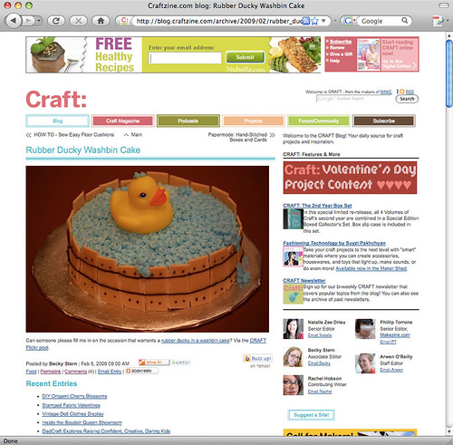 Rubber ducky cake on Craft!