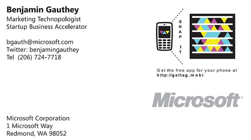Benjamin Gauthey Business Card with Microsoft Tag