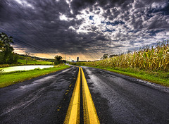 Take Me Home, What a Wonderful Way...To Go. (darth_bayne) Tags: road mill clouds hope wideangle canon350d cornfields sunrays emotions hdr yellowline middleoftheroad sigma1020mm takemehome passingstorm ruralpennsylvania justaftertherain handheld3xp brucewberryjr darthbayne