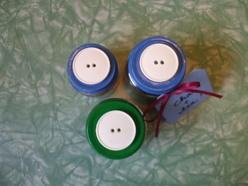 button toppers on my terrarium + tea kit